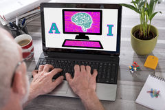 Artificial intelligence concept on a laptop screen Stock Image