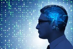 The artificial intelligence concept with man royalty free stock photography