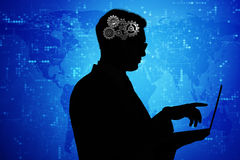 The artificial intelligence concept with man and laptop Stock Photo