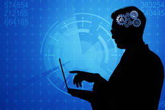 The artificial intelligence concept with man and laptop Royalty Free Stock Photo