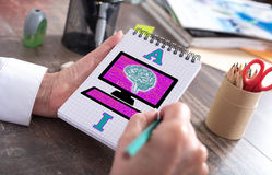 Artificial intelligence concept on a notepad Stock Photography