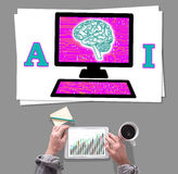 Artificial intelligence concept placed on a desk Royalty Free Stock Photo