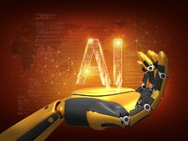Artificial intelligence concept. Robot hand, future robotic technology, 3D rendering, abstract background stock illustration