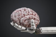 Artificial intelligence concept. Robotic hand is holding human brain. 3D rendered illustration Royalty Free Stock Photos