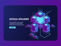 Artificial intelligence concept, server room, big data processing, brain in the incubator, data center. Database isometric vector dark ultra violet neon Royalty Free Stock Photo
