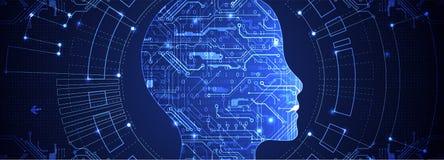 Artificial intelligence concept. Technology background. Artificial intelligence concept. Technology themed dark background. Vector science illustration stock illustration