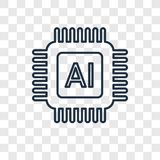 Artificial intelligence concept vector linear icon isolated on t. Ransparent background, Artificial intelligence concept transparency concept in outline style
