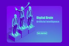 Artificial Intelligence concept for web banner or hero images. Artificial intelligence ai isometric concept. Can use for web banner, infographics, hero images Stock Photo