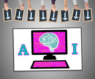 Artificial intelligence concept on a whiteboard Royalty Free Stock Photography