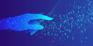 Artificial intelligence. Conceptual illustration on the theme of digital technologies, Image of human hand. Vector graphics Royalty Free Stock Image