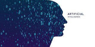 Artificial intelligence. Conceptual illustration on the theme of digital technologies, the image of the human head. Vector graphics Royalty Free Stock Image