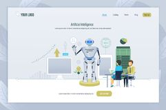 Artificial intelligence. Creation, management, testing of robot, technology of future. Artificial intelligence, robot programming. Creation, management vector illustration