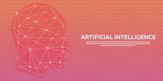 Artificial intelligence, Cybernetic Brain, Binary code. Vector illustration. Stock Photo