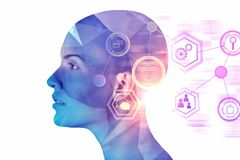 Artificial intelligence and cyberspace concept. Female cyborg head with abstract digital interface. Artificial intelligence and cyberspace concept. Double stock photo