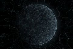 Artificial intelligence cyberspace network background. Artistic artificial intelligence cyberspace sphere with lines and dots copy space illustration background Royalty Free Stock Photo