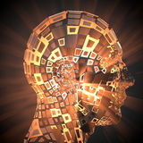 Artificial intelligence. 3d rendering: side view of human head shining Royalty Free Stock Images