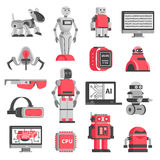 Artificial Intelligence Decorative Icons Set Stock Images