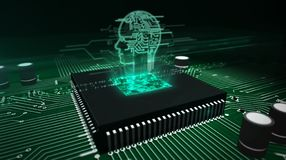 CPU on board with ai head hologram vector illustration