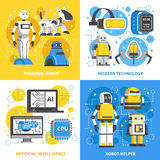 Artificial Intelligence 2x2 Design Concept. Of modern technology with smart machine personal robots and ai signs flat vector illustration Stock Photography