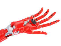 Artificial Intelligence Driver Assist 3d Illustration Concept. Red Cyborg Hand with Car Keys Isolated on White 3d Illustration Royalty Free Stock Photography