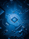 Artificial Intelligence electronic circuit board Royalty Free Stock Images
