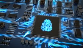 Artificial intelligence electronic circuit. Microchip with glowing brain. 3D rendered illustration Royalty Free Stock Photos