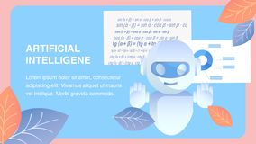 Artificial Intelligence Flat Banner Vector Layout stock illustration