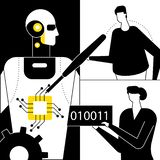 Artificial intelligence - flat design style vector illustration. Black, white and yellow composition with male, female programmers fixing a chip in a robot stock illustration