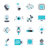 Artificial Intelligence Flat Icon Set. Robotic processes in our life and different robots vector illustration Royalty Free Stock Photography