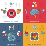 Artificial Intelligence Flat Set. Artificial intelligence design concept set with electronic brain flat icons isolated vector illustration