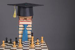 Artificial Intelligence funny education concept with chess. And unusual man Royalty Free Stock Images