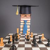 Artificial Intelligence funny education concept with chess. And unusual man Royalty Free Stock Photos