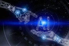 Artificial intelligence and future concept. Digital hand pointing at abstract blue cyberspace background with text. Artificial intelligence and future concept stock photography