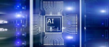 Artificial intelligence Future Technology. Communication Network concept. Blurred modern datacenter background.