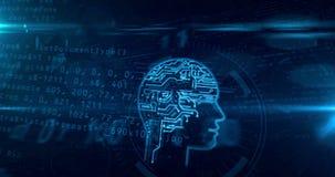 Artificial intelligence head shape on digital background loop. Artificial intelligence head shape on digital background. Cybernetic brain and deep learning royalty free illustration