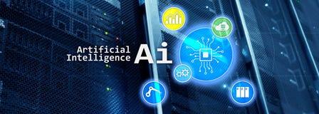 Artificial intelligence hi-tech business technologies concept. Futuristic server room background. AI vector illustration