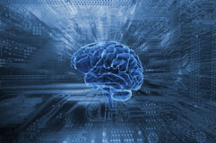 Artificial intelligence and human brain Stock Photo