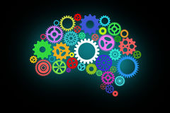 Artificial intelligence with human brain shape and gears. Artificial intelligence with human brain shape and colorful spinning gears