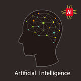 Artificial intelligence with human concept. Dot circuit board  Stock Image