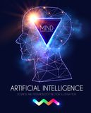 Artificial Intelligence. Human Consciousness. Mind Process. Human vs Robot. Scientific Digital Design Template. Personality. Vector illustration Stock Photos