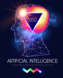 Artificial Intelligence. Human Consciousness. Mind Process. Human vs Robot. Scientific Digital Design Template. Personality. Vector illustration Stock Photo