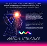 Artificial Intelligence. Human Consciousness. Mind Process. Human vs Robot. Scientific Digital Design Template. Personality. Vector illustration Royalty Free Stock Photos
