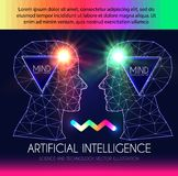 Artificial Intelligence. Human Consciousness. Mind Process. Human vs Robot. Scientific Digital Design Template. Personality. Vector illustration Royalty Free Stock Images