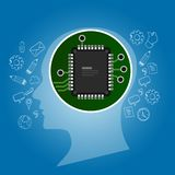 Artificial intelligence. Human head outline with circuit board chip processor inside. Technology and electronic concept. royalty free illustration