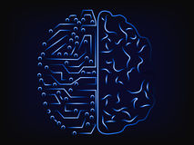 Artificial intelligence and the human mind,  brain design Stock Image