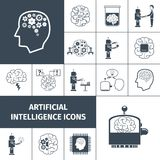 Artificial Intelligence Icons Black. Artificial intelligence and digital brain icons black set isolated vector illustration Royalty Free Stock Image