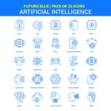 Artificial Intelligence Icons - Futuro Blue 25 Icon pack stock illustration