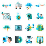 Artificial Intelligence Icons Set. With robot laptop and keyboard flat vector illustration