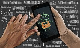 Artificial Intelligence Illustration on Smart Phone with Robot Stock Illustration