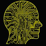 Artificial Intelligence. The image of human head outlines, inside of which there is an abstract circuit board Stock Photos